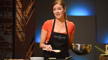 Ex-MasterChef contestant Heather Day making her pitch on Shark Tank for an investment in her artisan butter.