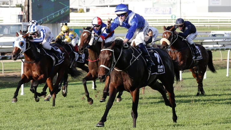 Star is born: Winx announces her arrival to group 1 racing, winning the Queensland Oaks in 2015 with Hugh Bowman on board.
