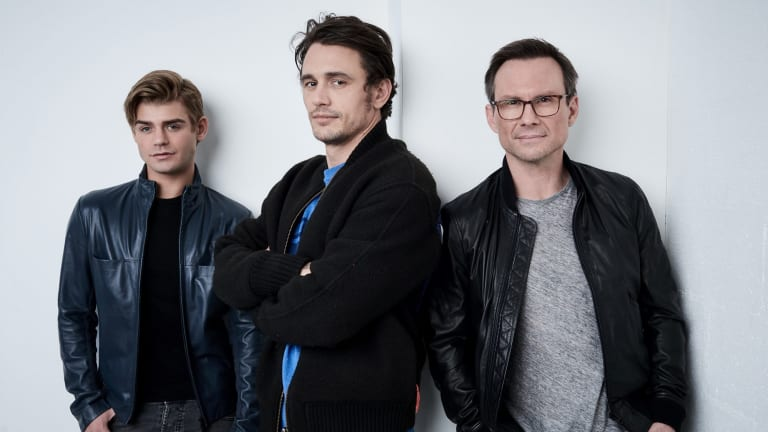 "Garett Clayton, James Franco, and Christian Slater from ""King Cobra"" pose at the Tribeca Film Festival."