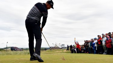 Henrik Stenson hits his tee shot on the 7th.