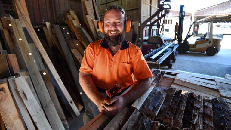 Former senator Ricky Muir at his newly purchased sawmill, which he affectionately calls ''George''.