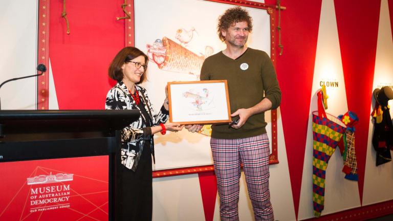 Museum of Australian Democracy director Daryl Karp, left, announces cartoonist David Rowe as 2017 Political Cartoonist of the Year.