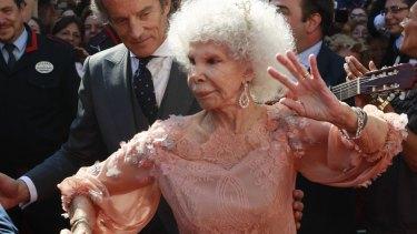 The Duchess of Alba flamenco dances beside her husband Alfonso Diez after their wedding in 2011.
