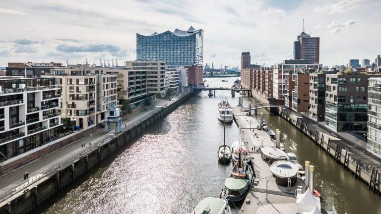 Hamburg's Elbphilharmonie building (on the left, back of shot) features a distinctive roofline.