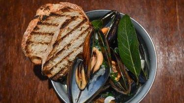Mussels, white wine, garlic.