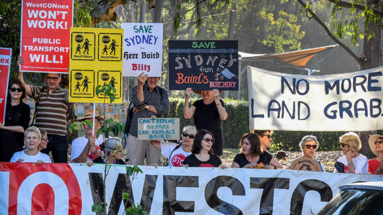 Residents in the inner west protest in Pioneers Memorial Park, on Norton Street, Leichhardt. About 427 properties have been or will be acquired for the motorway.