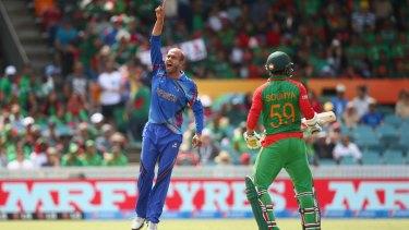 No premature celebration here: Merwais Ashraf celebrates dismissing Anamul Haque.