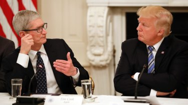 Tim Cook with US president Donald Trump in June.