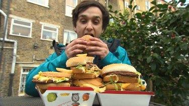 Tom Spector, Tim's son during the hamburger challenge.