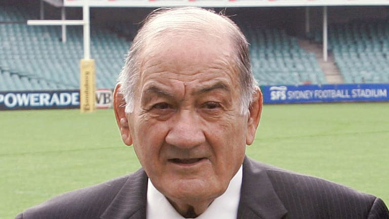 Rugby giant: Sir Nicholas Shehadie, aged 92, has passed away overnight.