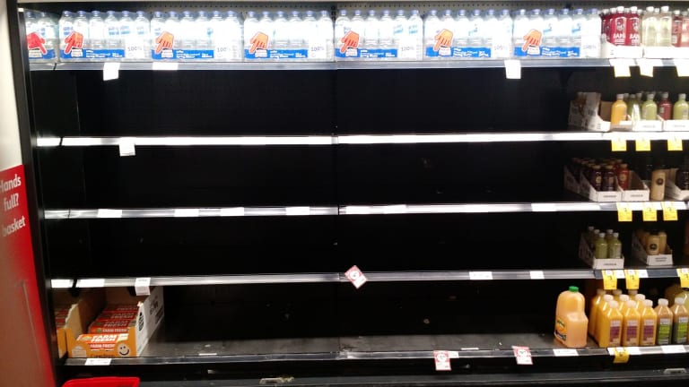 Bare shelves at a supermarket in Melbourne's CBD.