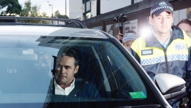 Ben McCormack, charged over child porn offences, leaving Redfern police station on Thursday evening.