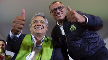 Leftist candidate Lenin Moreno, left, and his running mate Jorge Glas.
