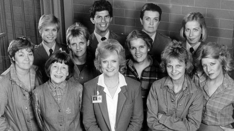 The cast of Prisoner in 1983. Front row: Val Lehman, Sheila Florance, Patsy King, Jentah Sobott, Amanda Muggleton. Middle row: Jane Clifton, Betty Bobbitt. Front Row: Elspeth Ballantyne, Wayne Jarratt, Maggie Kirkpatrick, Judith McGrath.