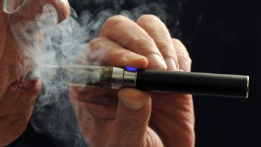 A demonstration of an e-cigarette.