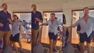 Stefanovic letting loose at Yarbrough's Brisbane home on Friday night, May 12.