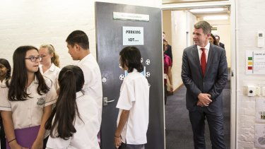 Premier Mike Baird at  Casula High School in March.