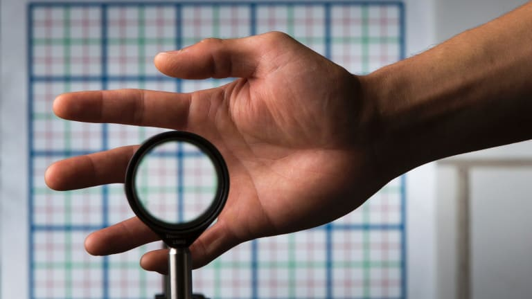 A cloaking device using four lenses developed by University of Rochester physics professor John Howell and graduate student Joseph Choi.