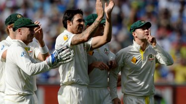 Mitchell Johnson scores some revenge as Australian players hush the Barmy Army after he dismissed Johnny Bairstow on Boxing Day, 2013.