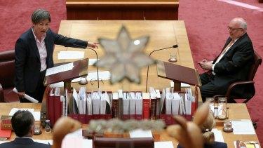 Labor senator Penny Wong attacks Attorney-General Senator George Brandis in the Senate.