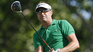 In better days: Robert Allenby playing golf in 2013.