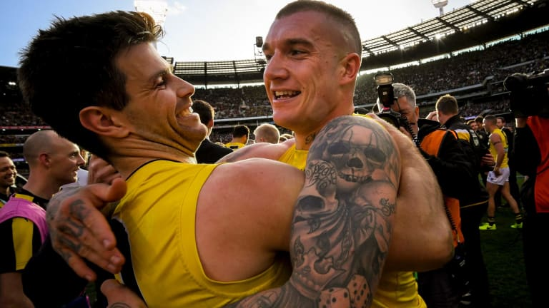 Friends and teammates Dustin Martin and Trent Cotchin.