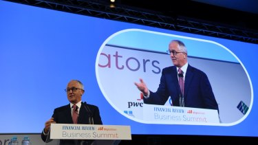 PM Malcolm Turnbull speaks at the AFR Business Summit in Sydney on Thursday.
