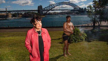 Artist Judy Watson with John Blair at the announcement of her new work at the Domain.