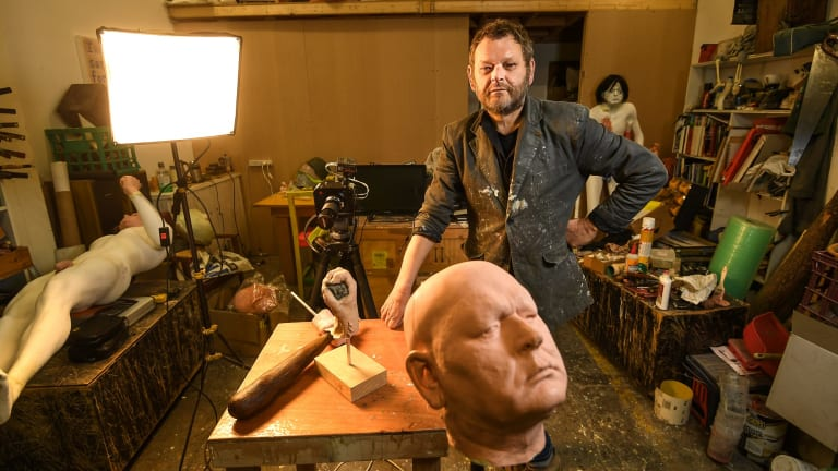Ronnie van Hout in his Melbourne studio.