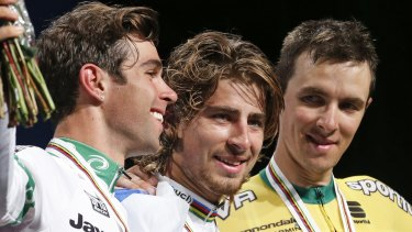 Michael Matthews, left, wished he'd had more help chasing Peter Sagan, centre.