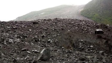 The accident site after a landslide in Xinmo Village of Maoxian County, Tibetan and Qiang Autonomous Prefecture, Sichuan Province.