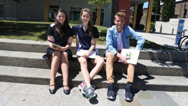 Shaylah McClymont, 16, of Canberra High School, Hayley Steel, 16, of University of Canberra High School Kaleen, and Matthew Sutton, 16, of University of Canberra Senior Secondary College Lake Ginninderra, received achievement awards at the ACT Education year 10 excellence awards.