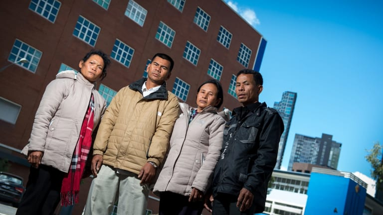 Camobodian's Pheun Ra, Seoung Sokhom, Khorn Khorn and Chan Sokhoeurn are victims of a land grab funded by the ANZ bank.