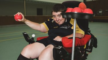 Corena Harrison, of Chifley,  has played boccia for 10 years, winning a New Zealand championship along the way. Note the genius use of a muffin tin to hold her boccia balls while she is competing.