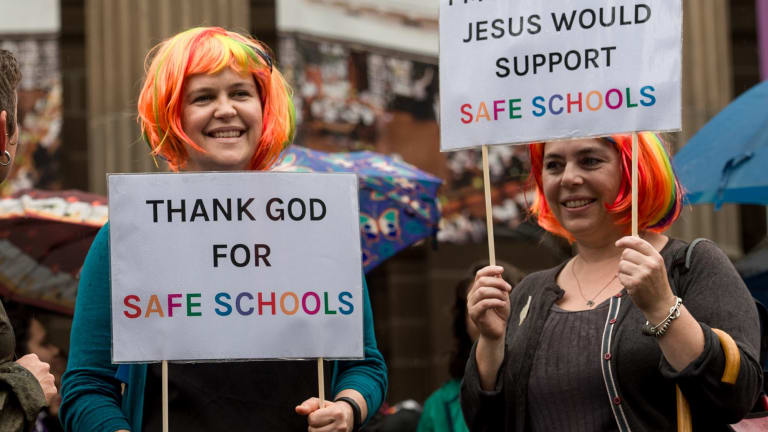 Protesters at a Melbourne rally this month challenge the Christian lobby that is fighting the Safe Schools program.