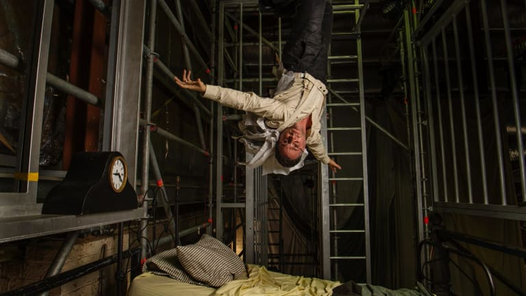World turned upside down: Simon Lobelson in costume for his lead role in Metamorphosis.