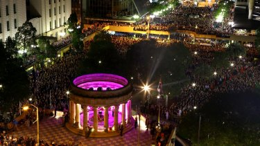 More than 40,000 people gathered at the Shrine of Remembrance for the Brisbane Anzac Day dawn service last year.
