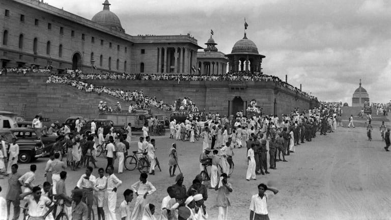 In this picture taken on August 15, 1947, crowds of Indian revellers begin to gather in Delhi to celebrate independence from Britain.