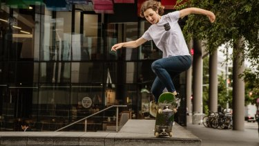 Naomi Hastings, who is doing a Masters degree in skateboarding at UWS