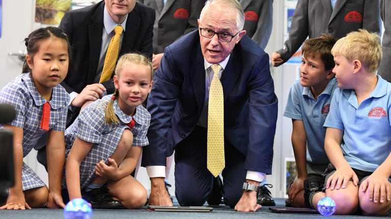 Prime Minister Malcolm Turnbull visits Oatley West Public School on Wednesday.