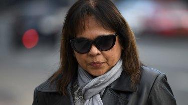 Steve Jarvie's partner Linda Ellis outside court on Monday.