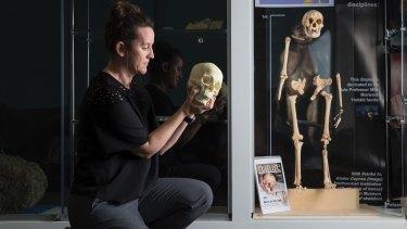 'We found the missing 20,000 years': Dr Kira Westaway at Macquarie University's 'Homo floresiensis' display.