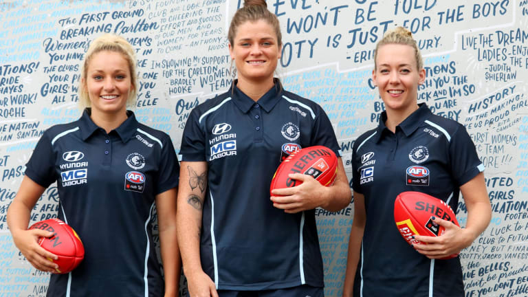 Carlton leaders, from left, Sarah Hosking, Brianna Davey and Lauren Arnell.