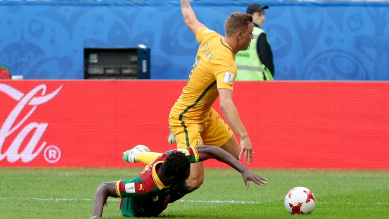 Big future: Alex Gersbach is fouled while playing for Australia in the Confederations Cup.