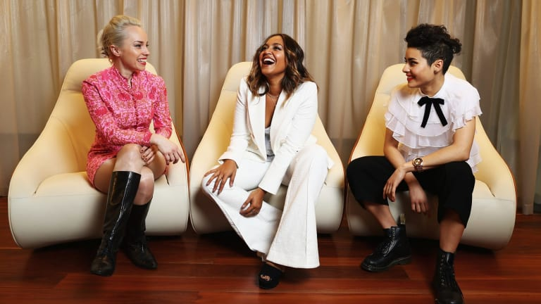 Olympia, Jessica Mauboy and Montaigne at the ARIA nominations event.