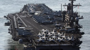 American aircraft carrier USS Carl Vinson is travelling to the Korean pensinula.