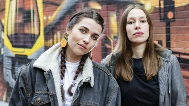Erica (left) and Sally of the hip hop group Coda Conduct  in May Lane, St.Peters on July 08, 2016.