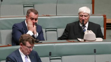 Gay Liberal MP Tim Wilson, a plebiscite sceptic-turned-enthusiast, sat next to Queensland's maverick Bob Katter during the vote.