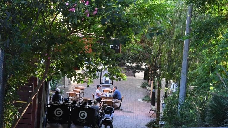 Green scene: The main shopping area in Hampden Road, Artarmon.