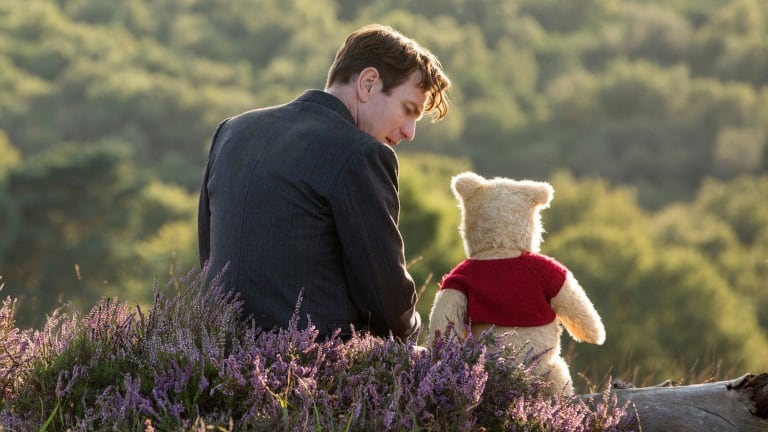 Ewan McGregor with Pooh in Christopher Robin.